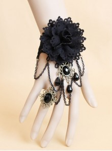 Black Retro Gothic Flower Handmade Lace Pearl Gemstone Bracelet With Ring One Chain