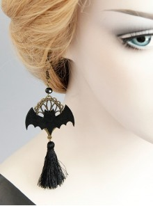 Personality Bat Fashion Temperament Halloween Gothic Black Tassel Felt Cloth Long Model Artificial Crystal Earrings