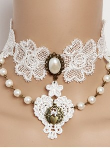 Vintage Baroque Bride Bridesmaid White Pearl Love Lace Flower Wings Necklace