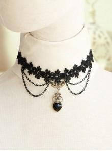 Black Gothic Retro Multi-level Resin Diamond Fashion Lace Heart Choker