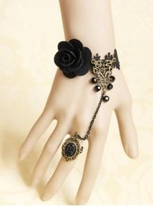Gothic Black Fashion Retro Rose Flower Gemstone Female Bracelet With Ring One Chain