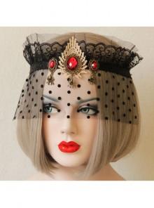 Retro Gothic Sexy Black Gauze Ruby Crown Prom Veil