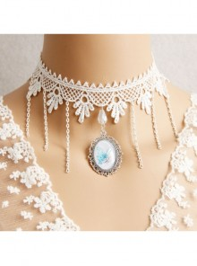 Baroque Palace Style Butterfly Pendant Lace Creative Beautiful White Tassel Necklace