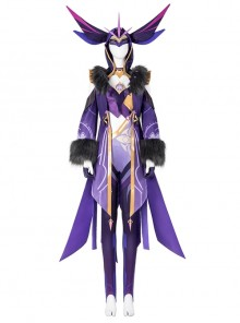 Genshin Impact Monster Fatui Thunder Firefly Warlock Halloween Game Cosplay Costume Full Set