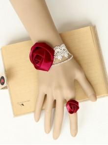 Gothic Red Rose White Lace Lolita Dress Bracelet Ring Set