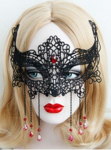 Gothic black masquerade nightclub queen lace halloween christmas party mask