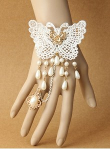 Vintage White Baroque Lace Butterfly Pearl Bride Palace Style Finger Ring Bracelet