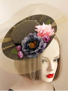 Fashion Palace Style Golden Mesh Banquet Three-Dimensional Flower Holiday Wedding Retro Top Hat