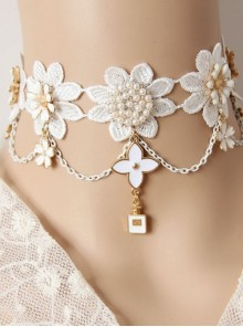 Baroque White Exaggerated Bride Wedding Dress Cherry Blossom Lace Pearl Palace Necklace