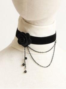 Gothic Retro Black Flower Tassel Velvet Rope Female Personality Necklace