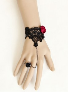 Gothic Retro Black Lace Pearl Red Rose Vampire Bracelet With Ring