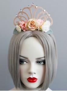 Fashion Flower Princess Crown Green Leaf Diamond Felt Cloth Birthday Party Headband