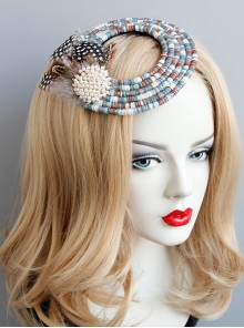 Fashion Ladies Handmade Blue Beaded Feathers Pearl Halloween Little Top Hat