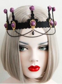 Baroque Palace Style Purple Rose Flower Black Tassel Crown Halloween Handmade Female Hair Band