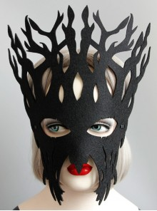 Handmade Exaggerated Male Female Child Big Tree Role Show Halloween Party Black Mask