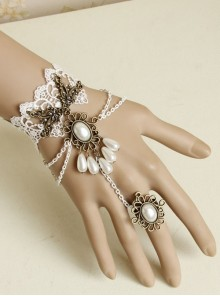 Vintage Baroque White Lace Pearl Bride Palace Prom Ring Bracelet