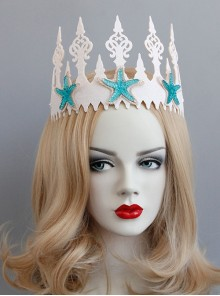 Fashion Christmas Mermaid Queen Show Starfish White Crown Headband