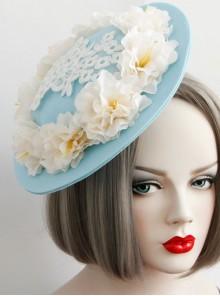 Fashion Tea Party Temperament Bride Bridesmaid White Flowers Lace Blue Top Hat Hairpin