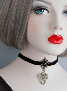 Black Gothic Exquisite All-match Velvet Rope Fashion Nightmare Jewel Short Necklace