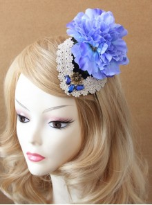 Stage Performance Dress Banquet Retro Blue Flowers White Lace Female Top Hat Hairpin