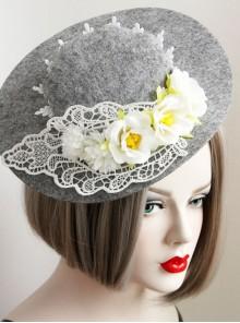 Fashion Leisure Elegant Lace Flower Grey Performance Banquet Top Hat