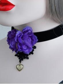 Gothic Flower Love Black Velvet Rope Purple Flower Retro Simple Short Necklace
