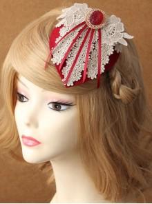 Lace Flower Bride Wedding Wine Red Tassel Prom Fashion Female Top Hat Side Clip