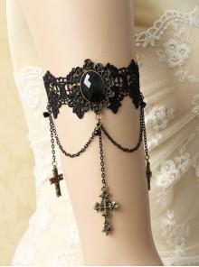 Gothic Black Lace Retro Cross Gemstone Armband Bracelet