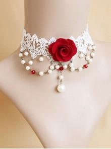 Fashion Baroque Bride Dress Red Rose White Pearl Lace Female Choker