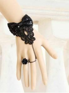 Gothic Vampire Retro Black Lace Rose Bow Bracelet Ring Set
