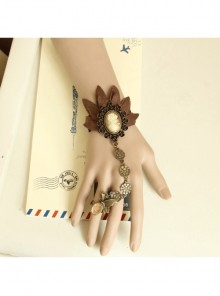 Gothic Brown Portrait Lace Retro Christmas Prom Female With Ring Bracelet