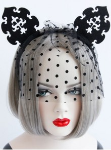 Gothic Black Retro Cute Cat Ears Sexy Prom Veil Halloween Christmas Veil Headband