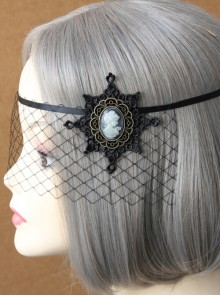 Gothic Portrait Black Christmas Snowflake Cover Face Handmade Personality Female Prom Half Face Veil