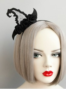 Black Gothic Rose Masquerade Creative Witch Hat Halloween Party Party Show Headband