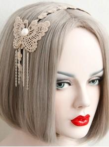 Fashion Elegant Golden Lace Butterfly Tassel Temperament Handmade Headband