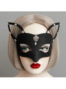 Gothic Retro Rose Halloween Christmas Black Fox Point Drill Concealer Prom Party Mask
