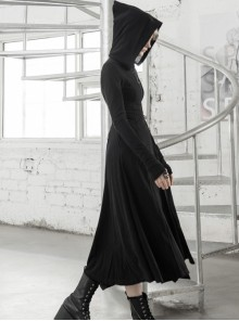 Front Oblique Zipper Pointed Hood Long Sleeve Split Hem Black Gothic Coat
