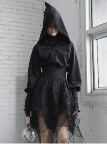 Sharp-Angle Wizard Hat Front Hairball Metal Moon Pendant Black Gothic Embroidery Coat