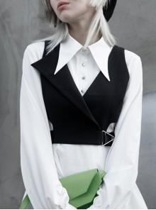 Asymmetric Unilateral Lapel Waist Hollow-Out Metal Buckle Waist Loop Black Punk Waistcoat