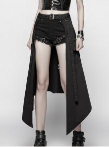 Black Punk Metal Eyelets Strap Side Pocket Half Skirt