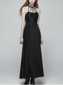 Metal Ring Ribbon Collar Front Lace-Up Black Gothic Lace Flower Net Long Halter Dress