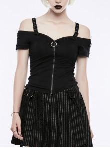 Off-Shoulder Metal Buckle Shoulder Strap Short Sleeve Black Punk Knit T-Shirt