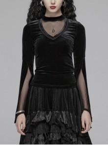 V-Neck Splice Mesh Slit Flare Sleeve Black Gothic Velvet T-Shirt