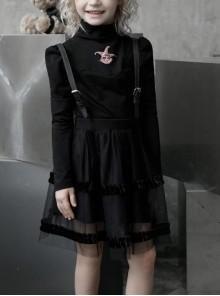 Childrenswear Metal Buckle Leather Shoulder Strap Double-Layer Mesh Black Punk Bubble Skirt
