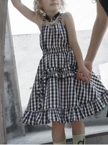 White Plaid A Type Flounce Lower Hem Punk Children Sling Dress