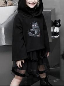 Cat Ear Sharp Corner Hooded Front Chest Print Black Punk Loose Children Velvet Sweater