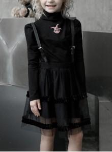 High Collar Front Chest Print Long Sleeve Black Punk Children Knit T-Shirt