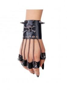 Metal Spiked Nails Skull Decoration Black Punk Leather Gloves