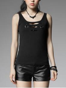 Front Chest Braid Pointed Nail Decoration Black Punk Broken Holes Knit Vest