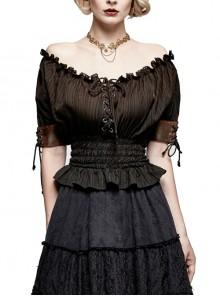 Off-Shoulder Lace-Up Collar Short Sleeve Flounce Hem Black Punk Jacquard Striped T-Shirt